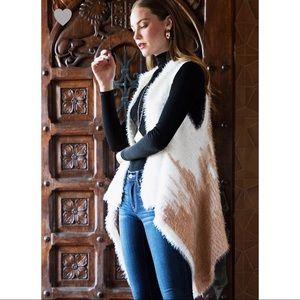 Cream and Tan Faux Fur Vest